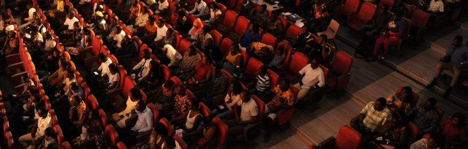 Aerial view of audience at CCB auditorium